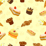 Background of Cake and other sweets. Seamless texture. Vector illustration Royalty Free Stock Photo
