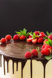 Background of cake with strawberries Stock Photos