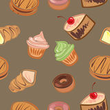 Background from cakes. Sweet seamless background with cupcakes and desserts Royalty Free Stock Image
