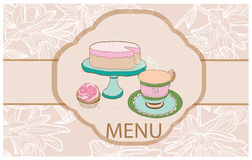 Background with cakes, cake mi Cup of tea on Royalty Free Stock Image