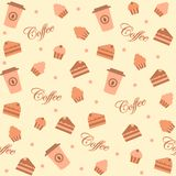 Background with cakes and coffee cups Stock Photography