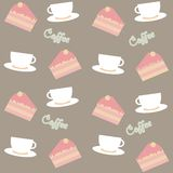 Background with cakes and coffee cups Stock Photos