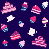 Background with cakes and desserts Stock Photography