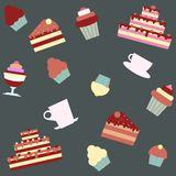 Background with cakes and desserts Royalty Free Stock Photography