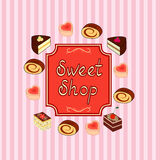 Background with cakes. Royalty Free Stock Photo