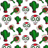 Background with calaveras, cactus and maracas Royalty Free Stock Photos