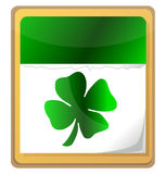 Background, calendar. Calendar with clover leaf. St. Patrick's day icon Stock Image