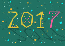 2017 background. Calendar template. Happy New Year 2017. Calendar template. Yellow and pink, hand drawn symbols with decor. Celebration green background with Royalty Free Stock Images