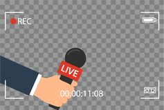 Background with camera frame and record or rec vector isolated. focus TV in live news flat design. hand holding mic. Cartoon. Journalism and Microphone with Royalty Free Stock Photos