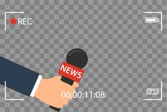 Background with camera frame and record or rec vector isolated. focus TV in live news flat design. hand holding mic. Cartoon. Journalism and Microphone with Stock Photography