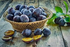 Basket with ripe juicy plums on table Stock Photography