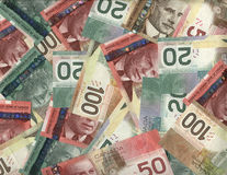 Background of Canadian bills. Background of new Canadian twenty, fifty and hundred dollar bills Stock Images