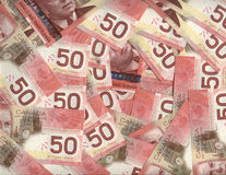 Background of Canadian fifty dollar bills. Background of new Canadian fifty dollar bills Royalty Free Stock Photography