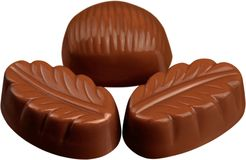 Three Chocolates Pralines - Isolated stock image