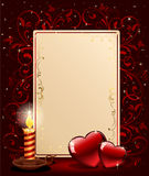 Background with candle and hearts Stock Image