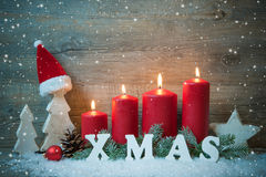 Background with candles and snowflakes for Christmas Royalty Free Stock Photo