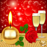 Background candles stars rose and the ring Royalty Free Stock Photos