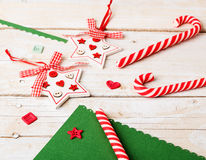 Background with candy canes and decorations Royalty Free Stock Photography