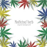 Background with cannabis leaves. Marijuana leafs. Marijuana leafs. Cannabis plant background. Hand drawn style. Empty frame with cannabis leaves Royalty Free Stock Photography