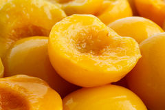 Background of canned peach halves. Background of canned peach halves in perspective. Compote stock image