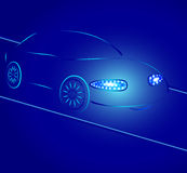 Background from a car silhouette in neon light Royalty Free Stock Photo