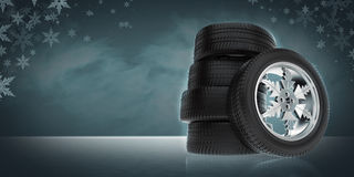 Background with car winter wheels Royalty Free Stock Photo
