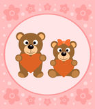 Background card with bears cartoon Royalty Free Stock Images