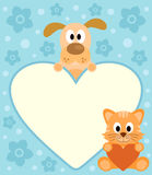 Background card with cartoon dog and cat. Background card with funny cartoon dog and cat Royalty Free Stock Photography
