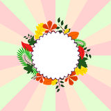 Background Card with different leaves around circle. Pattern of different leaves for your design Stock Photography