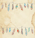 Background or card with feathers Royalty Free Stock Photography