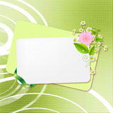 Background with a card and a flower Stock Image