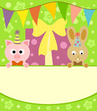 Background card  with pig and rabbit Stock Image