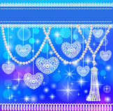 Background card with hearts lace and pearls stock illustration