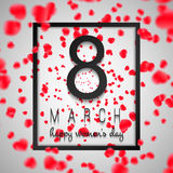 Background, Card International Women`s Day with red hearts Royalty Free Stock Photography