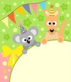Background card  with koala and kangaroo Royalty Free Stock Image