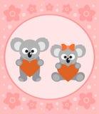 Background card with koalas cartoon Royalty Free Stock Photos