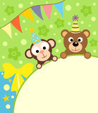 Background card  with monkey and bear Royalty Free Stock Photo
