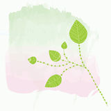 Background for card with watercolor splash. And leaves royalty free illustration