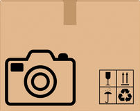 Background cardboard boxes with camera icon Royalty Free Stock Images