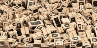 Background from cardboard boxes with household kitchen appliance Royalty Free Stock Photo