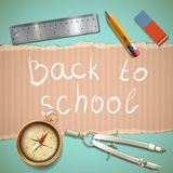 Background of cardboard and stationery. Back to school. Stock ve Royalty Free Stock Photo