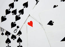 Background of cards with heart of ace (standing out from the crowd) Stock Image