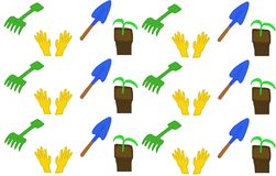 Seamless pattern. Beginning of the holiday season. EPS 10. Background care for plants in the garden. Household gloves, rake, shovel and pot with sprout on white vector illustration