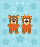 Background  with cartoon bears Stock Photo