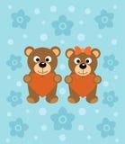 Background  with cartoon bears Stock Photo