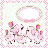 Background with cartoon birds. royalty free stock photography