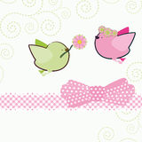 Background with cartoon birds. vector illustration