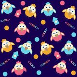 Background with cartoon birds Royalty Free Stock Images