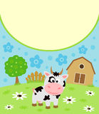 Background cartoon card with cow. Background cartoon card with funny cow Stock Photo