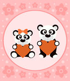 Background cartoon card with pandas Stock Photography